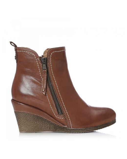 Moda In Pelle Brown Leather 'ameelo' Mid Wedge Ankle Boots