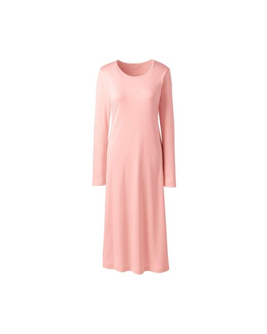 Lands  End Pink Petite Supima Long Sleeve Calf-length Nightdress in ... 683dc53cc
