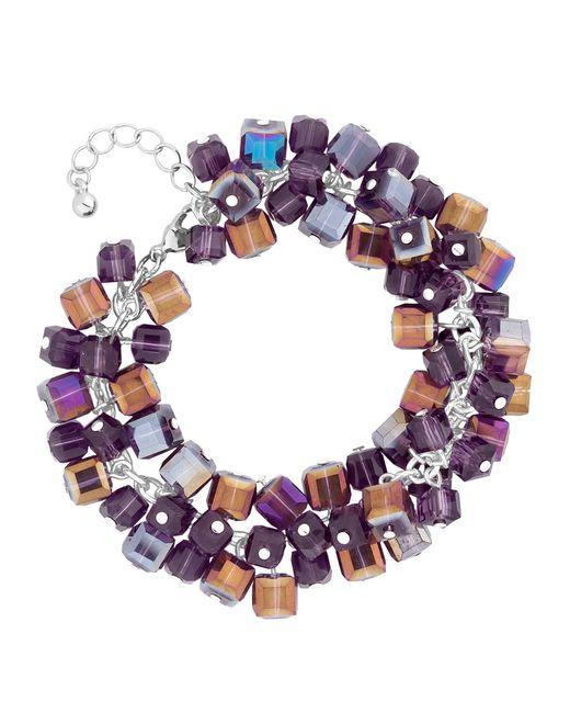 J By Jasper Conran - Silver Purple Crystal Cube Bracelet - Lyst