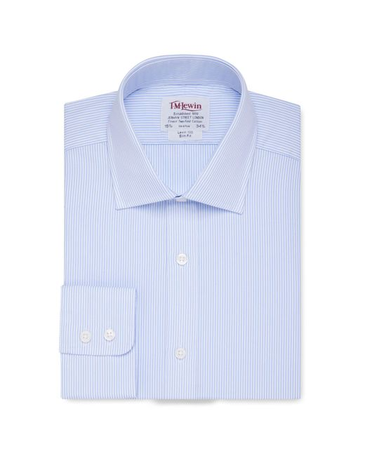 Tm Lewin - Slim Fit Light Blue Bengal Stripe Short Sleeve Length Shirt for Men - Lyst