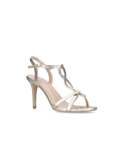 Nine West - Metallic Gold 'demi' Mid Heel Sandals - Lyst