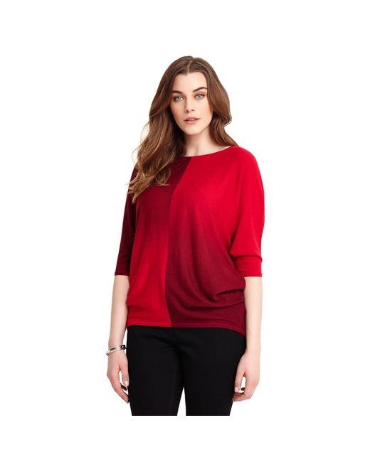 Studio 8 - Sizes 12-26 Red Beth Batwing Dip Dye Jumper - Lyst