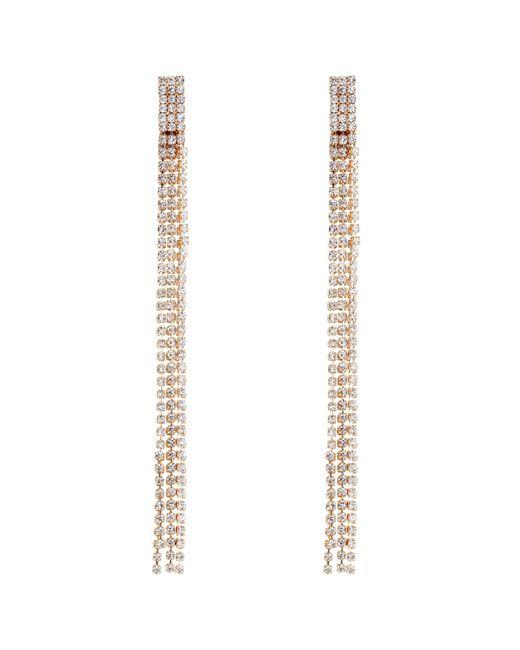 Red Herring - Metallic Rose Gold Diamante Drop Earrings - Lyst