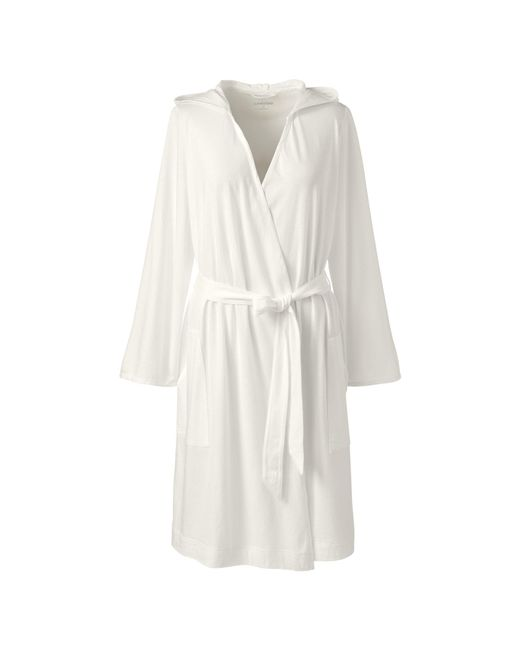 Lands\' End Cream Hooded Knee Length Dressing Gown in White - Lyst