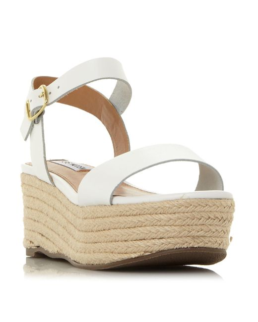 9f2141a564b2 Steve Madden White  busy  Mid Platform Ankle Strap Sandals in White ...