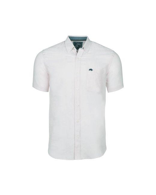 Raging Bull - White Short Sleeved Plain Linen Shirt for Men - Lyst