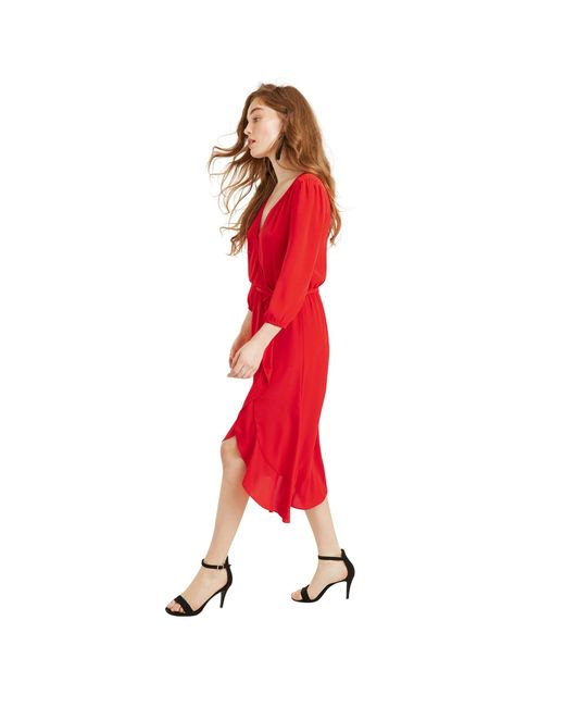 514faf0720 Oasis Mid Red Button Wrap Midi Dress in Red - Lyst