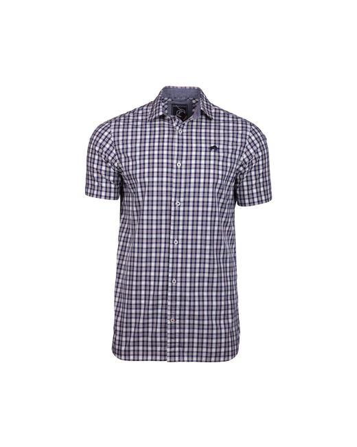 Raging Bull - Blue Short Sleeve Linen Look Check Navy Shirt for Men - Lyst