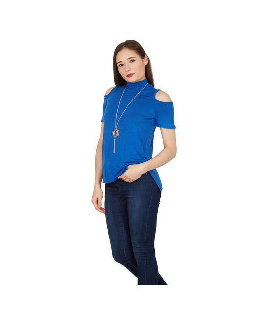 Apricot - Blue Cold Shoulder Necklace Top - Lyst