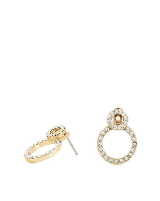 Pilgrim - Metallic Gold Plated Crystal 'victoria' Stud Earrings - Lyst