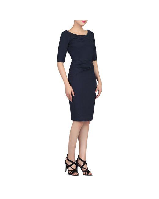 818436ea59b Jolie Moi - Blue Navy Scoop Neck Half Sleeve Dress - Lyst ...