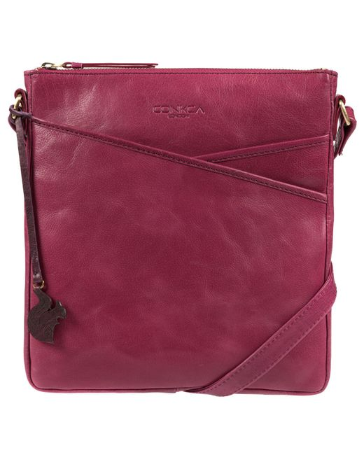Conkca London - Pink Orchid 'avril' Handcrafted Leather Crossbody Handbag - Lyst