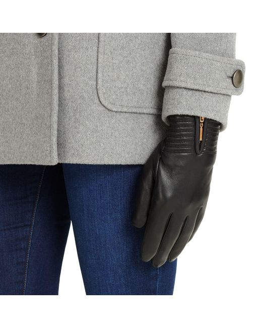 Phase Eight - Black Zip Leather Gloves - Lyst