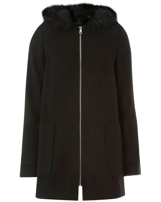 Dorothy Perkins - Tall Black Faux Fur Hooded Duffle Coat - Lyst