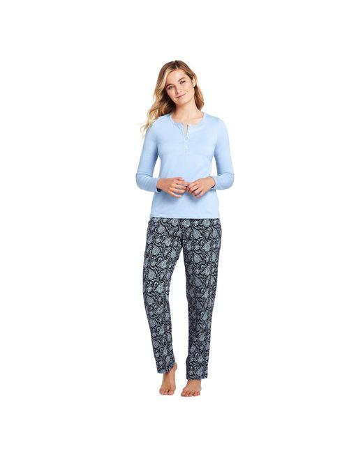 74b6c4da8d Lands  End Multi Womens Cotton Modal Pyjama Set in Blue - Save 27 ...