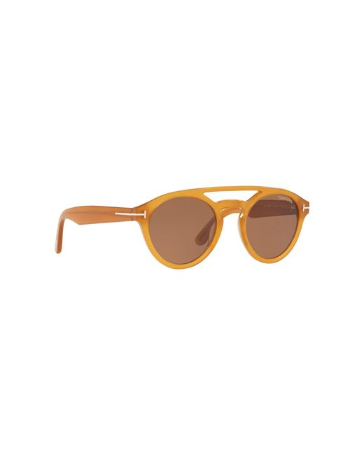 025df759cb6 Tom Ford - Brown Yellow Ft0537 Round Sunglasses for Men - Lyst ...