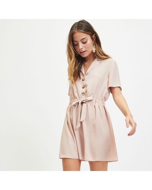 ff91339666f1e Miss Selfridge - Pink Petite Blush Shirt Dress - Lyst ...