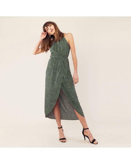 345f12feff1a Oasis Multi Green Textured Animal Wrap Midi Dress in Green - Lyst