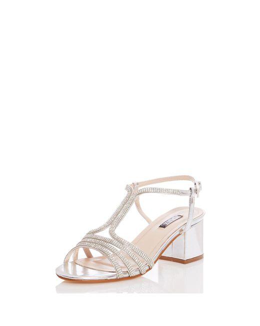 64be91b74 ... Quiz - Metallic Silver Diamante Strap Block Heel Sandals - Lyst