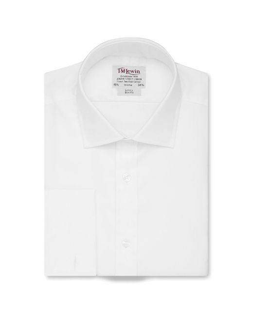 Tm Lewin - White Twill Slim Fit Double Cuff Long Sleeve Length Shirt for Men - Lyst