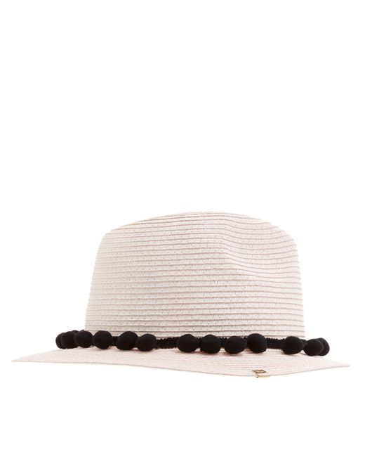 Dune - Light Pink 'fompom' Pom Pom Straw Hat - Lyst