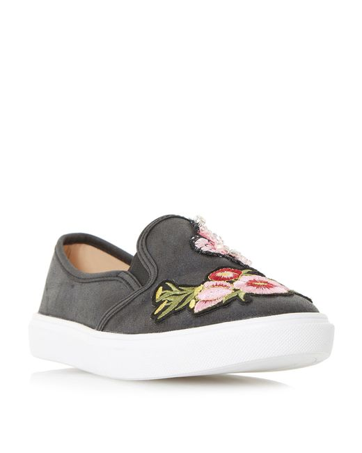 Dune - Black 'edan' Jewel And Applique Detail Slip On Trainers - Lyst