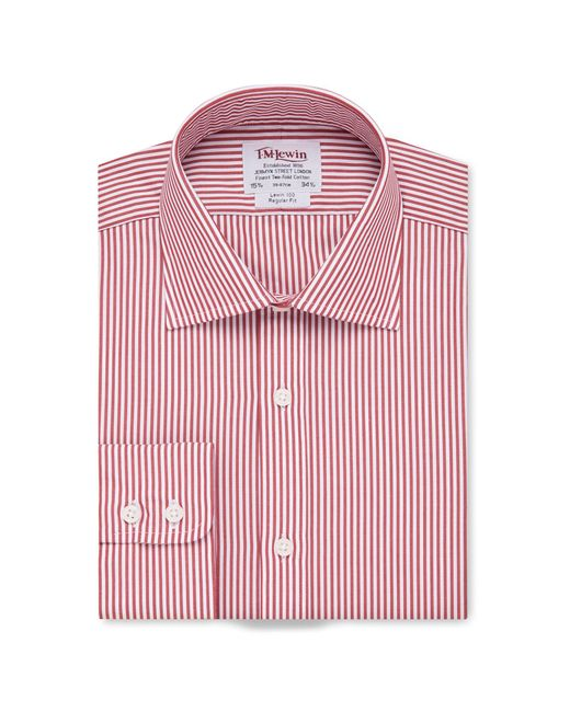 Tm Lewin - Regular Fit Red Bengal Stripe Poplin Short Sleeve Length Shirt for Men - Lyst
