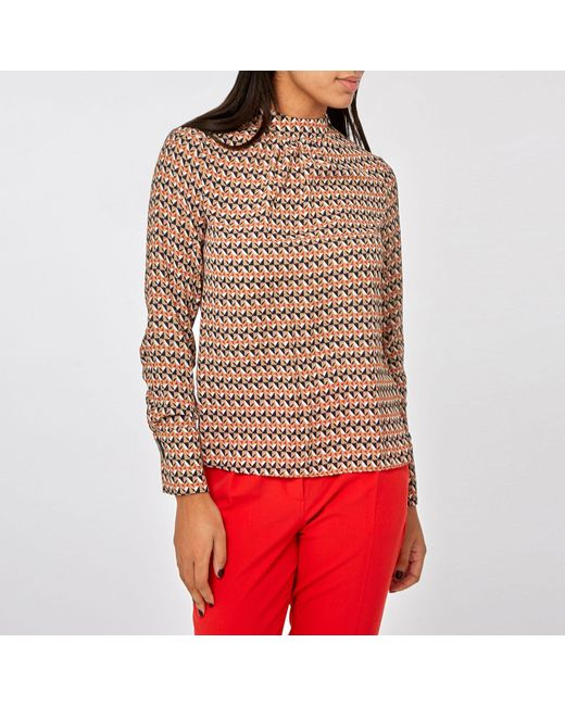 9ddd52e95cddf4 Dorothy Perkins - Red Camel Rosie Geometric Print Long Sleeve Top - Lyst ...