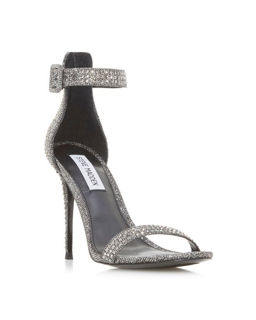 3b0a4440d1ed Steve Madden - Metallic Silver  mischa Sm  High Stiletto Heel Ankle Strap  Sandals ...