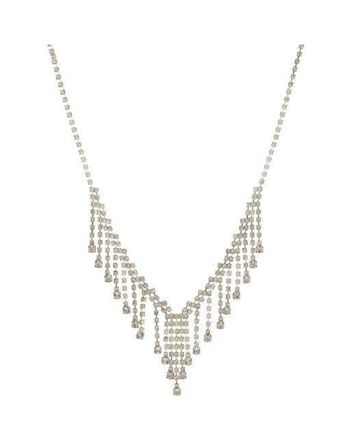 Red Herring - Metallic Gold Crystal Droplet Necklace - Lyst
