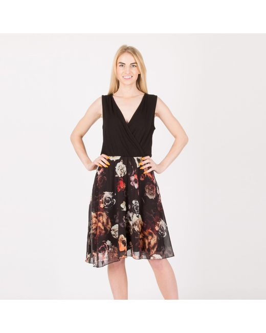 2c19efaeda28f Anna Field Black Floral Chiffon Skirt Jersey Dress in Black - Lyst