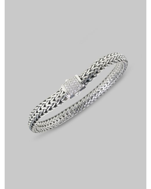John Hardy | Metallic Classic Chain Diamond & Sterling Silver Small Bracelet | Lyst