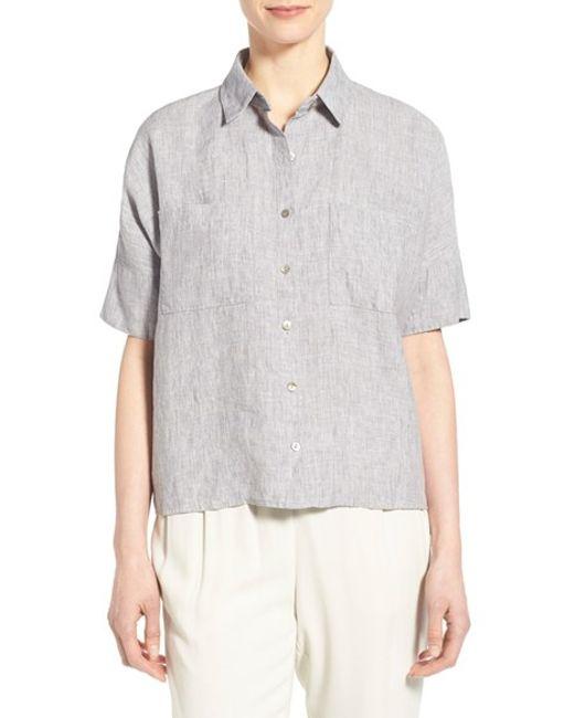 Eileen Fisher Organic Linen Elbow Sleeve Shirt In Gray