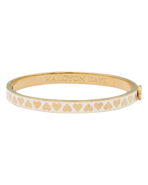 Halcyon Days | Metallic Skinny Hearts Gold Plated Bangle | Lyst