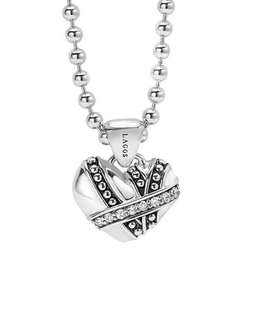 Lagos | Metallic 'diamonds & Caviar' Diamond Heart Pendant Necklace | Lyst