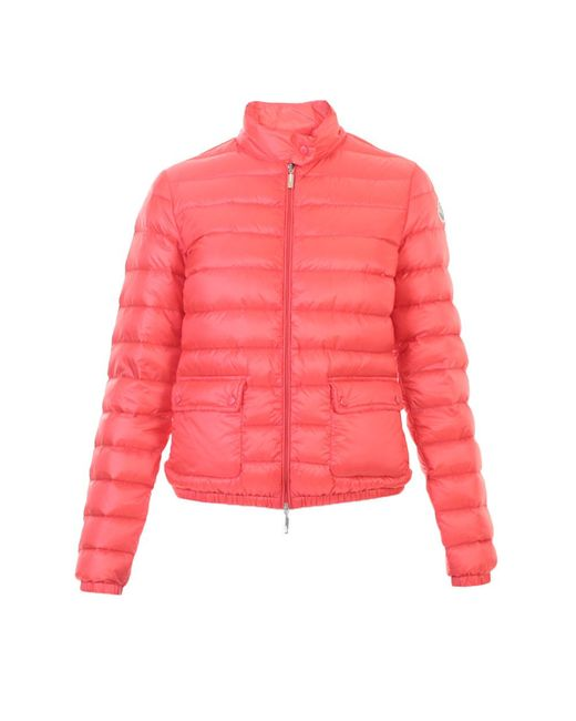 Moncler Lans Down Filled Quilted Jacket In Red Pink