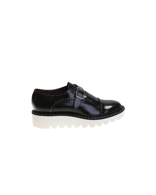 stella mccartney studded black eco leather shoes in black