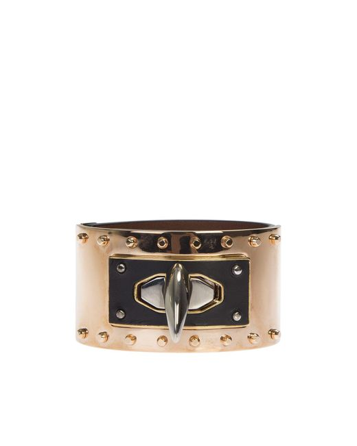 Givenchy | Black Leather And Metal Shark Tooth Bracelet | Lyst
