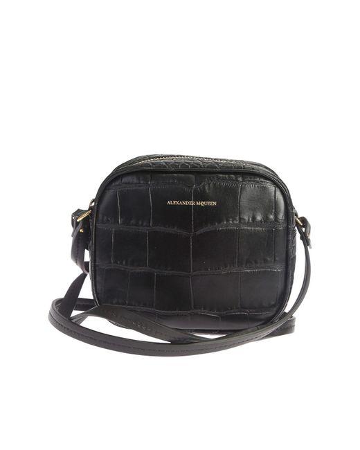 Alexander McQueen | Black Croc Effect Leather Crossbody Bag | Lyst