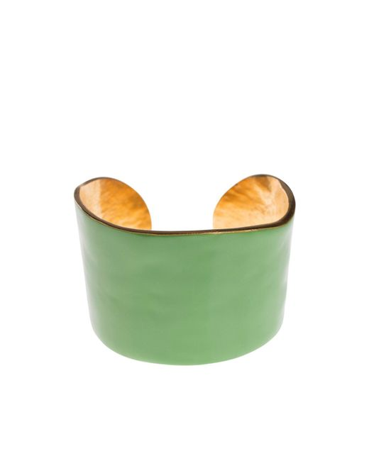 LITTLE WOMAN PARIS | Metallic Gold Metal And Green Resin Bangle | Lyst