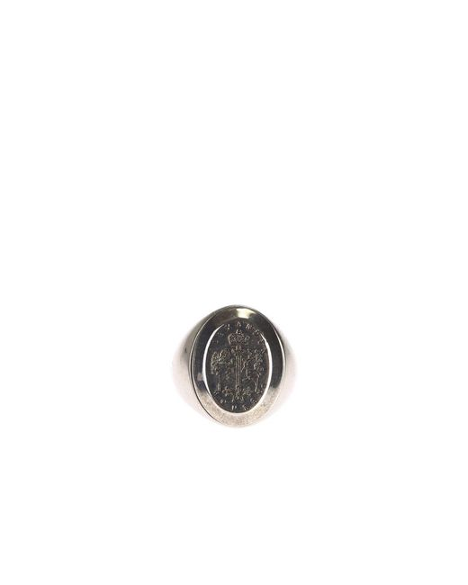 Alexander McQueen | Metallic Metal Ring With Engraved Coat Of Arms | Lyst