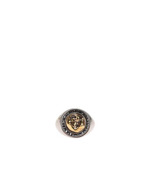 Alexander McQueen - Metallic Brass Ring With Swarovski Crystals - Lyst