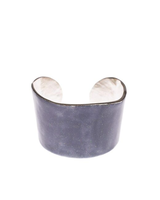 LITTLE WOMAN PARIS | Metallic Silver Metal And Grey Resin Bangle | Lyst