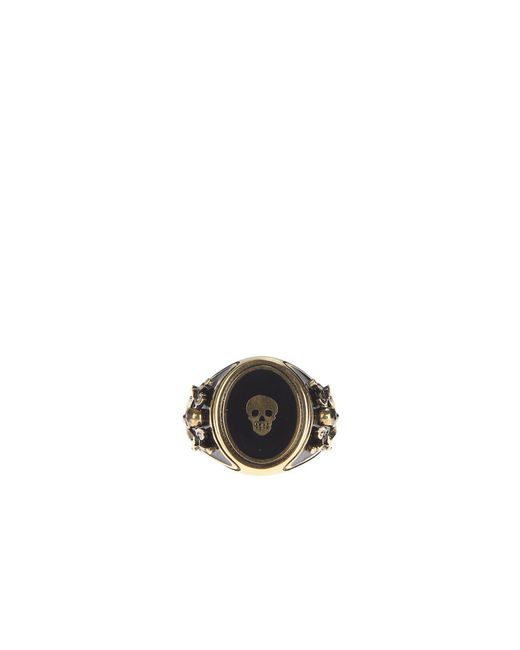 Alexander McQueen | Metallic Enamelled Metal Ring | Lyst
