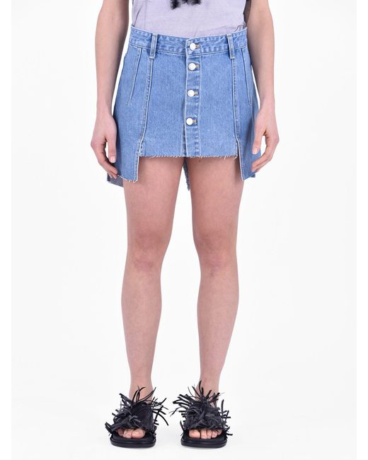 SJYP - Blue Destroyed Denim Skirt - Lyst
