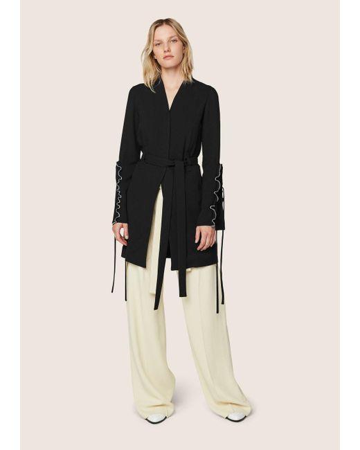Derek Lam | Black Wrap Jacket With Ruffle Sleeve Detail | Lyst