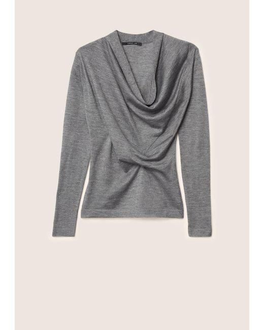 Derek Lam - Gray Long Sleeve Sweater With Drape Front - Lyst