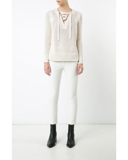 Derek Lam | Natural Lace Up V-neck Sweater | Lyst