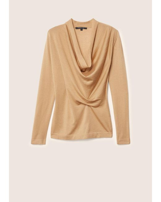 Derek Lam - Natural Long Sleeve Sweater With Drape Front - Lyst