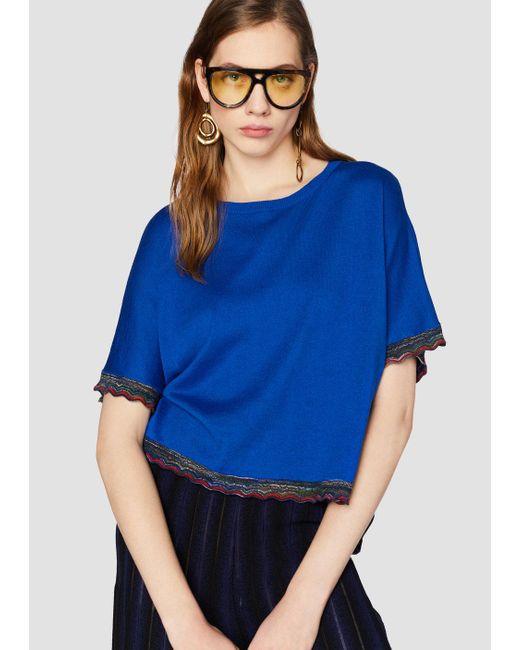 Derek Lam - Blue Short Sleeve Sweater With Rib Trim - Lyst